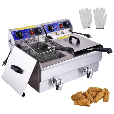 23.4L 3000W Commercial Electric Deep Fryer Dual Tanks Stainless Steel w/ Timer and Drain French