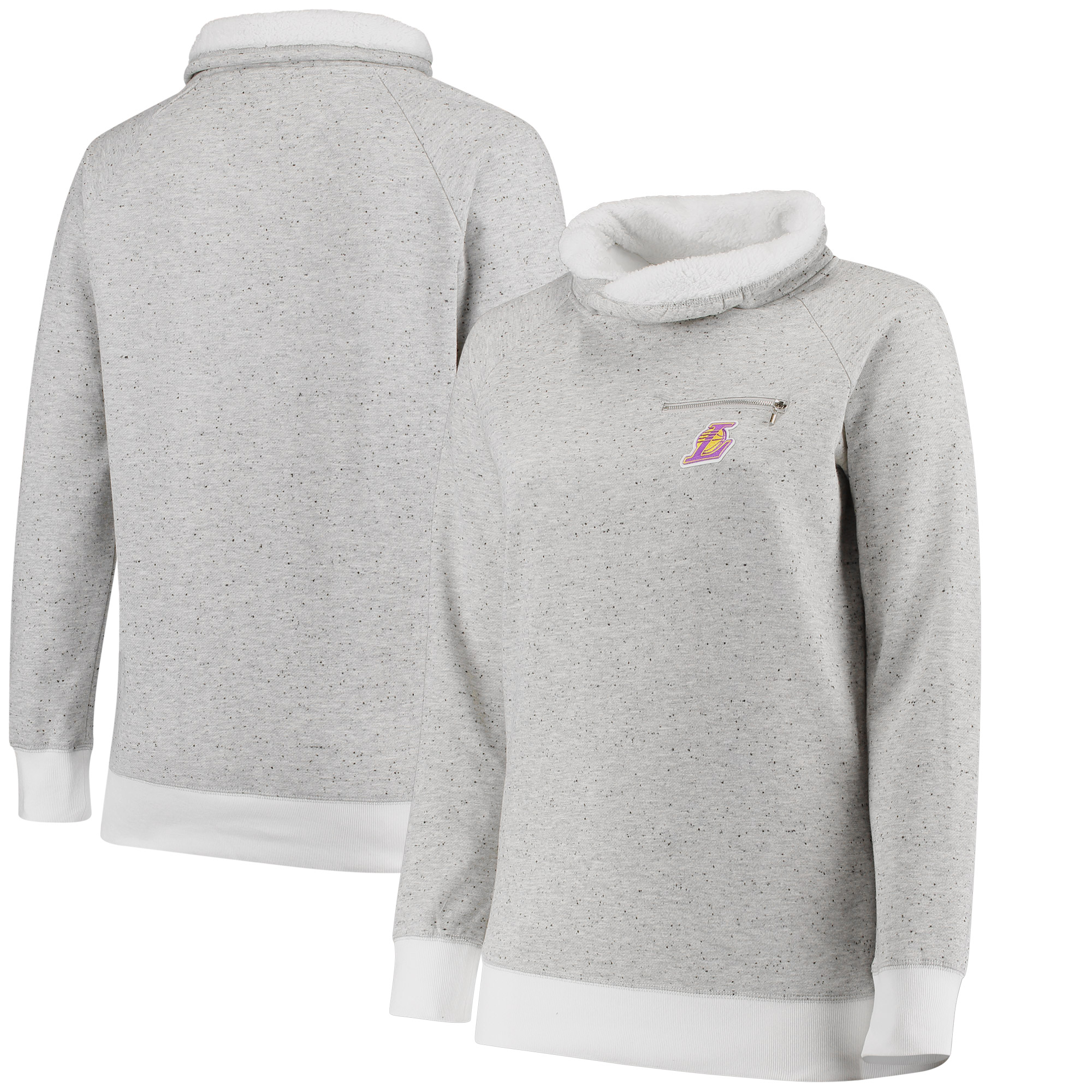 Los Angeles Lakers Women's Poodle Cowl Neck Pullover Sweatshirt - Gray