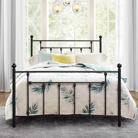 Antique Bed Frame/Platform Bed with Victorian Iron Headboard,Full -