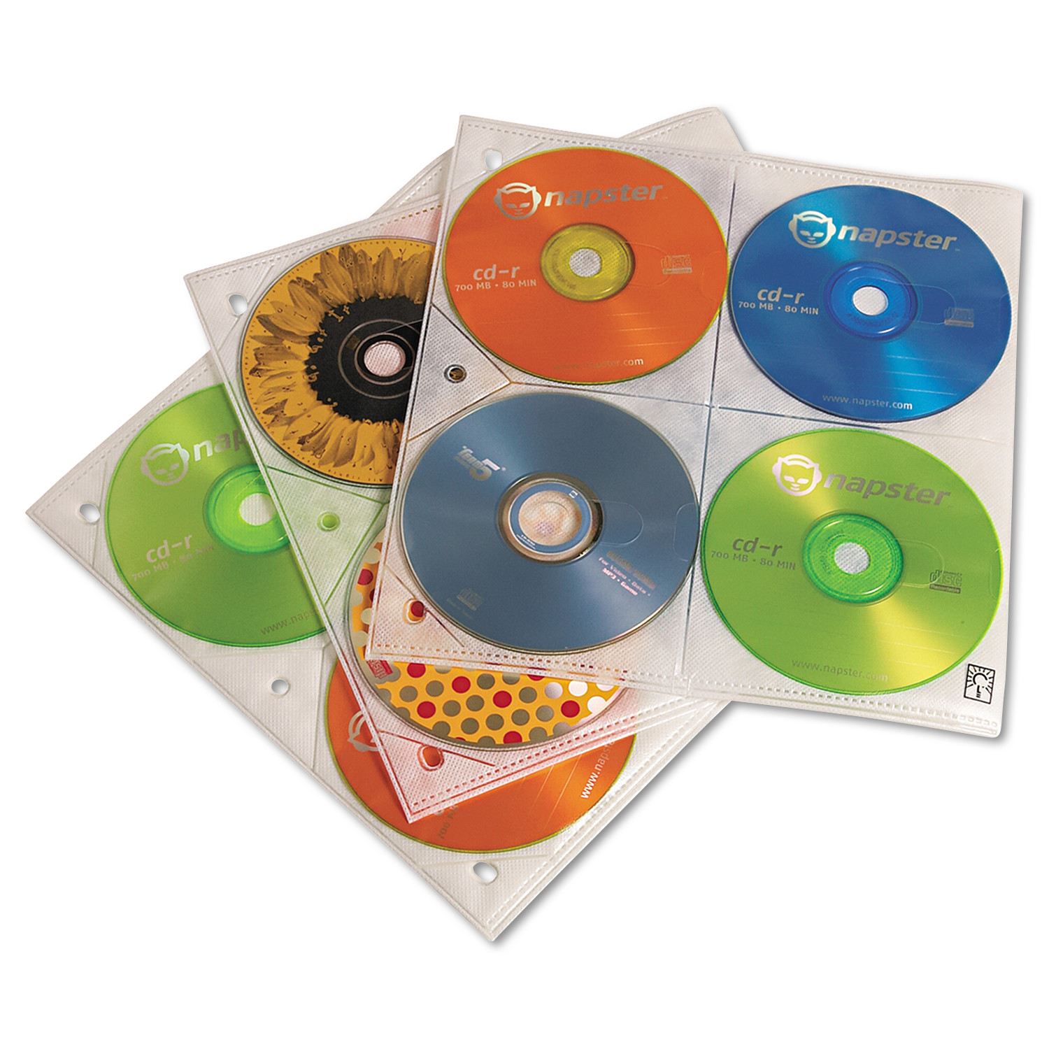 Case Logic Two-Sided CD Storage Sleeves for Ring Binder, 25/Pack