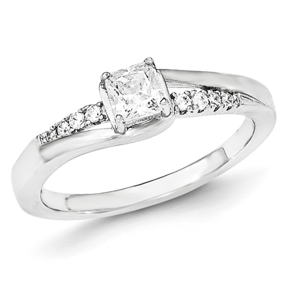 Bonyak Jewelry Sterling Silver Polished CZ Fancy Ring Size 8