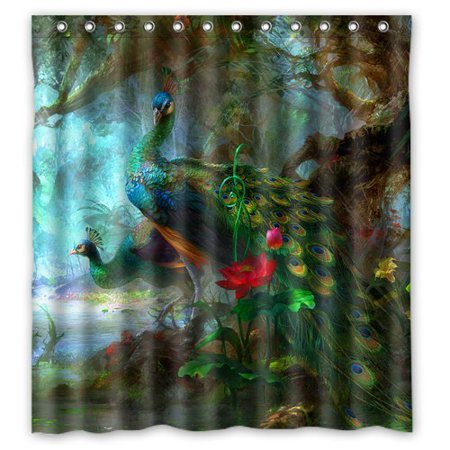 GreenDecor Peacock Feathers Waterproof Shower Curtain Set with Hooks Bathroom Accessories Size 66x72 inches](Peacock Accessories)