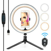 """LED Ring Light 10"""" with Tripod Stand & Phone Holder for YouTube Video,Makeup and Selfie, [2020 Upgraded] Dimmable 3 Light Modes 10 Brightness Level Ring Light with USB Powered Compatible for iPhone"""
