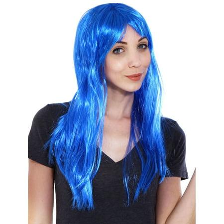 Women's Girl Long Straight Full Hair Wig Costume Halloween, Blue