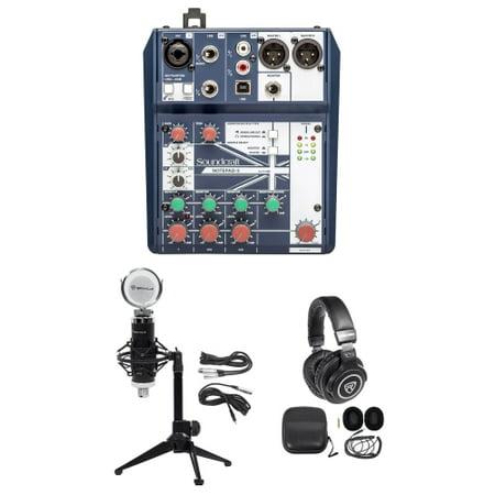 Podcasting Podcast Recording Bundle w/Soundcraft Mixer+Headphones+Mic+Desk (Best Headphones For Podcasting)