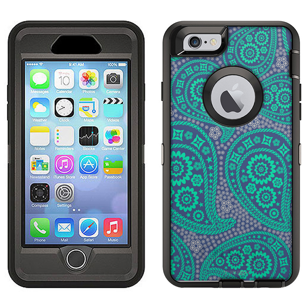 SKIN DECAL FOR Otterbox Defender Apple iPhone 6 Plus Case - Paisley Green and Flowers on Cyan Blue DECAL, NOT A CASE