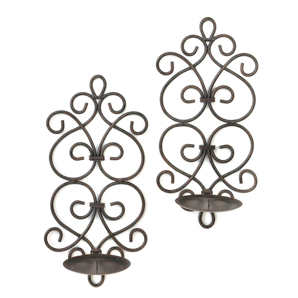 Sconces Candle, Decorative Wall Sconce Candle Holder, Black Scrollwork Sconces by Gallery of Light