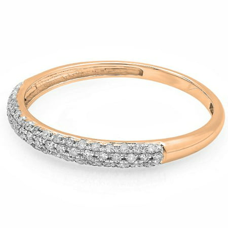 Dazzlingrock Collection 0.25 Carat (ctw) 10k Round Diamond Ladies Pave Anniversary Wedding Band Stackable Ring 1/4 CT, Rose Gold, Size 7.5 10k Good Luck Ring