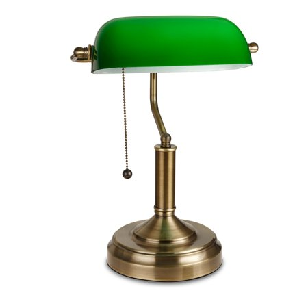 TORCHSTAR Traditional Antique Style Banker's Lamp, Satin Brass Metal Lamp Base, Emerald Green Glass