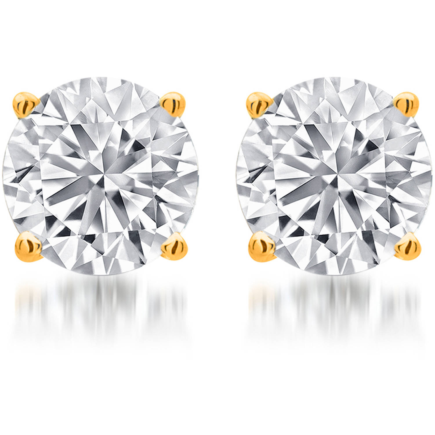 3/4 Carat T.W. Round White Diamond Yellow Gold over Sterling Silver Stud Earrings