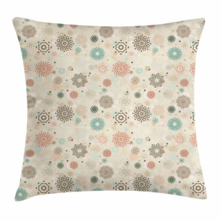 Snowflake Motif Display (Winter Throw Pillow Cushion Cover, Retro Style Christmas Pattern with Various Gentle Snowflake Motifs Vintage Pastel, Decorative Square Accent Pillow Case, 20 X 20 Inches, Multicolor, by Ambesonne)