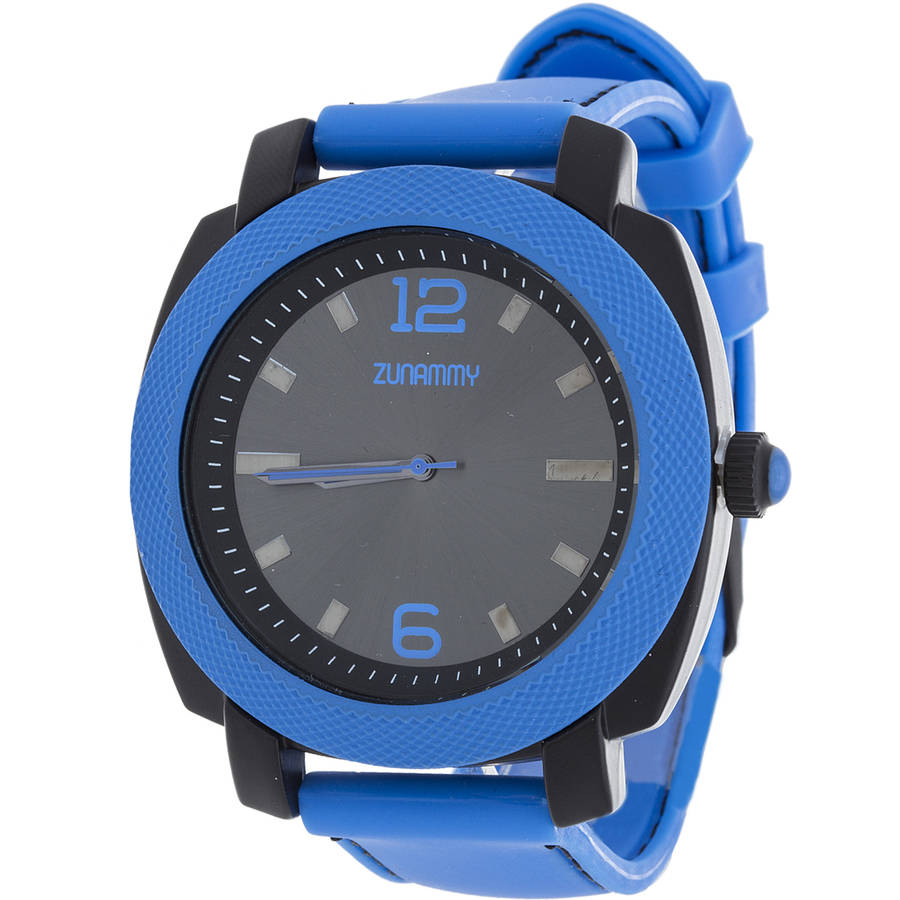 Zunammy Men's Sports Watch, Blue Rubber Strap