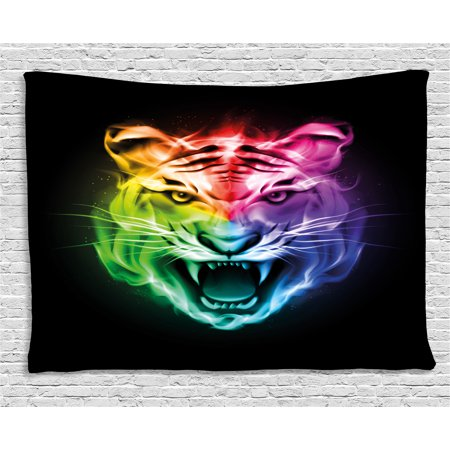 Tiger Tapestry, Multicolored Abstract Display Large Feline Blazing Spectrum of Fire Rainbow Color, Wall Hanging for Bedroom Living Room Dorm Decor, 60W X 40L Inches, Multicolor, by - Blaze Halloween Display