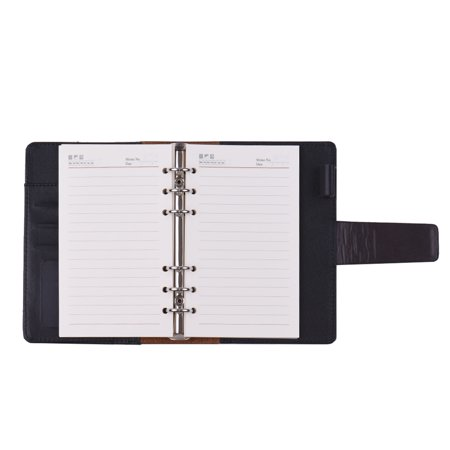 A6 PU Loose-leaf Spiral Notebook Binder Business Planner Dairy Agenda Vintage Office Stationery w/ Card Photo Slot Pen Holder Magnetic Cover Gift