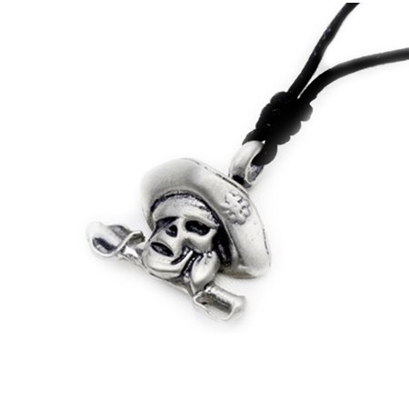 Cool Pirate Silver Pewter Charm Necklace Pendant Jewelry With Cotton Cord