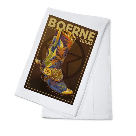 Boerne, Texas - Boot & Star - Lantern Press Artwork (100% Cotton Kitchen