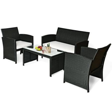 Costway 4PCS Patio Rattan Furniture Conversation Set Cushioned Sofa Table Garden Black - image 8 of 9