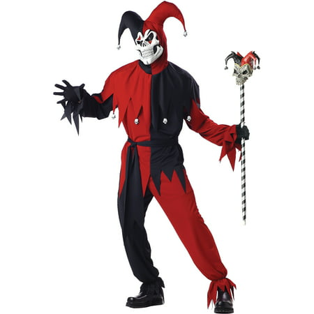 Jester Evil Adult Halloween Costume - Evil Jester Halloween Makeup