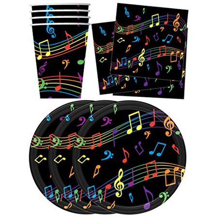 Colorful Music Notes Birthday Party Supplies Set Plates Napkins Cups Tableware Kit for 16 by Birthday Galore - Sweet 16 Plates And Napkins