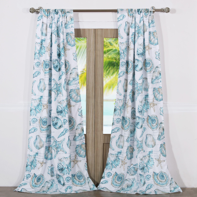Global Trends Coastal Seashell Curtain Panel, Set Of 2