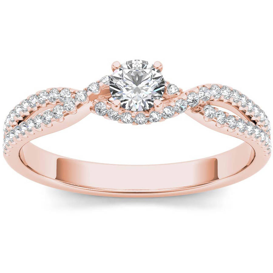 Imperial 3 8 Carat T.W. Diamond Bypass Criss-Cross Shank Classic 10kt Rose Gold Engagement Ring by Imperial Jewels