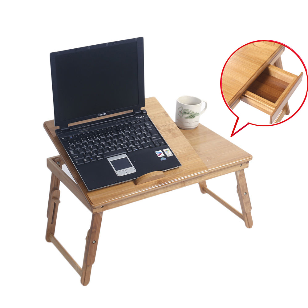 Zimtown Adjustable Bamboo Laptop Desk Folding Dining Bed Serving Tray W/  Drawer