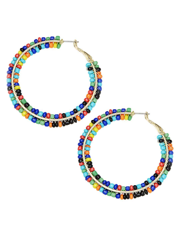 Goldtone Candy Bead Hoop Earrings