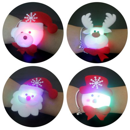 10PCS Light Up Flash Christmas Slap Bracelet Xmas Wristband Pat Hand Circle Party Favors