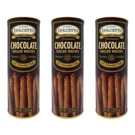 Dolcetto Premium Cream Filled Rolled Wafers Gourmet Chocolate Cookies - Pack of 3 (3 Ounces)