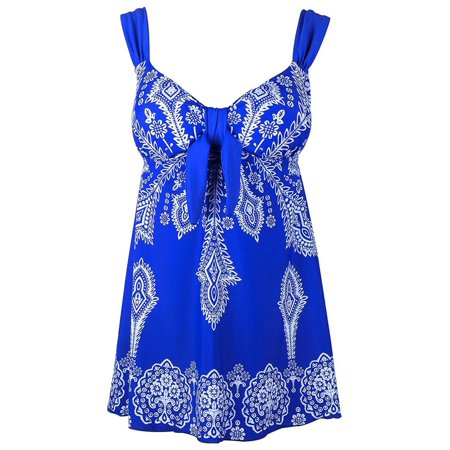 Plus Size Blue Retro Print Fashion Pin Up Swimdress Style Swimsuit Tankini Set