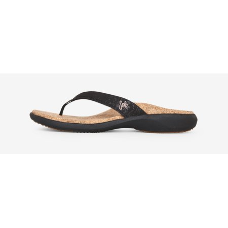 5ff22a25889e SOLE - SOLE Casual Cork Flip Flops - Women s - Coal - Walmart.com