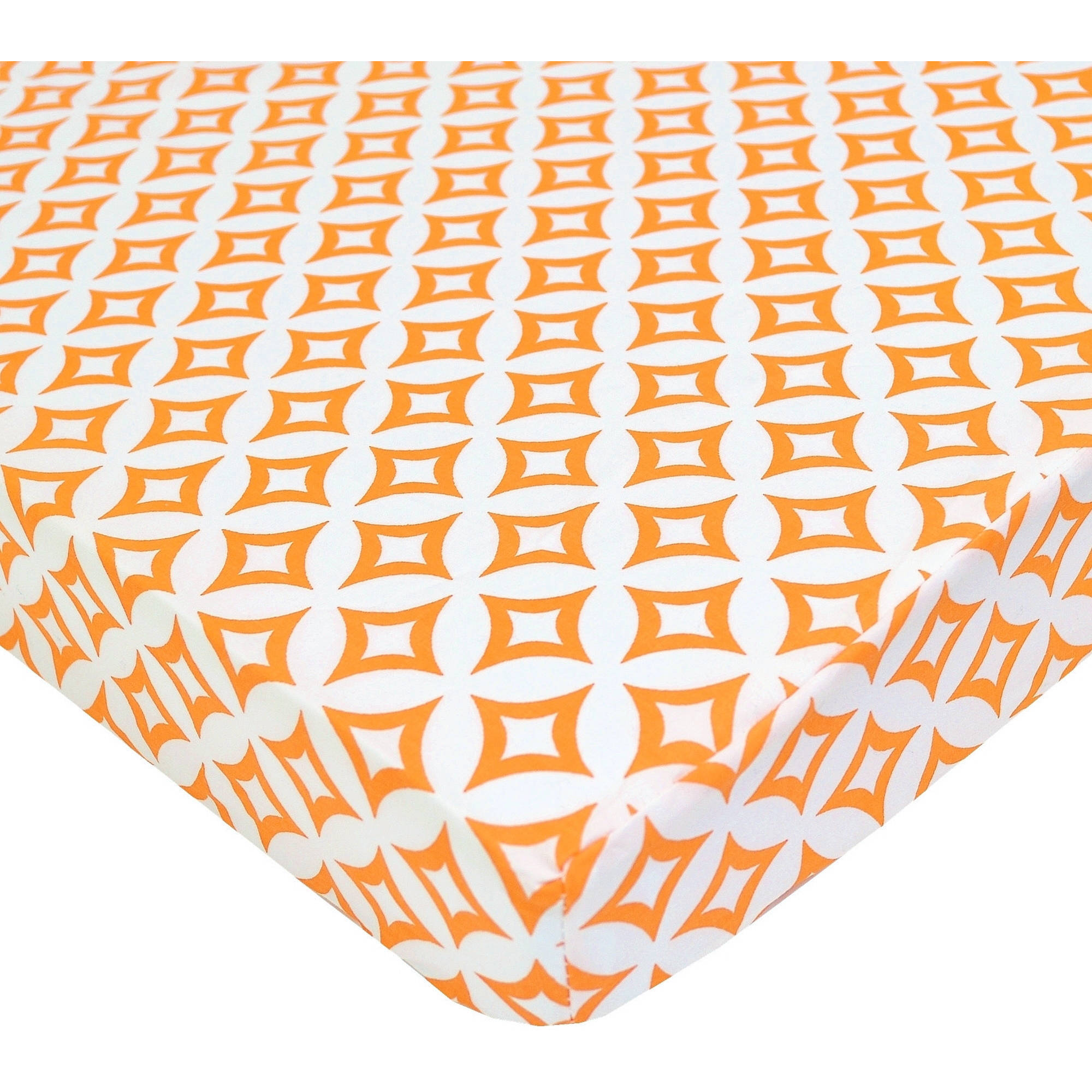 TL Care Cotton Percale Fitted Mini Crib Sheet, Orange Tweedle Tee Tile