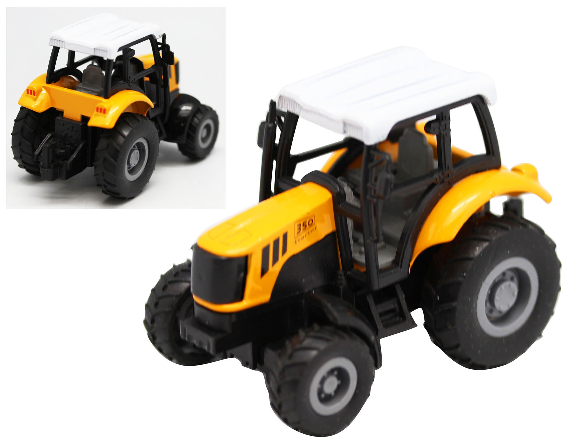 Yellow Black and White 350 Model Tractor by