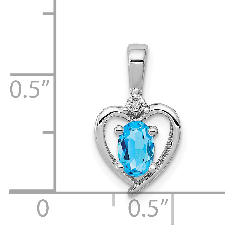 925 Sterling Silver Swiss Blue Topaz Diamond Pendant Charm Necklace Set Birthstone December Fine Jewelry Gifts For Women For Her - image 1 de 2