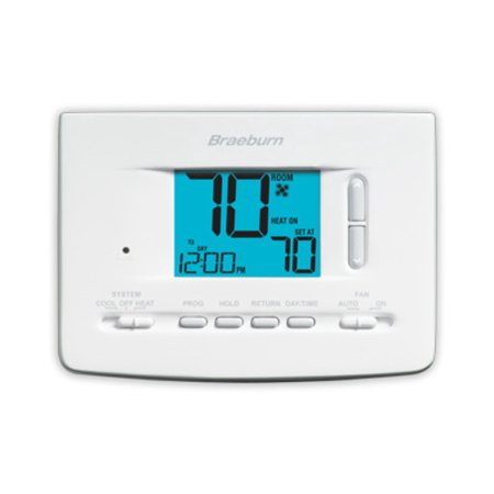 """Braeburn 2020 Digital 5/2 Programmable Thermostat with 3in Square"""" Area Display and Sing Stage Heating / Cooling"""