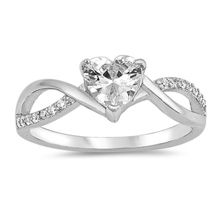 - White CZ Heart Twist Infinity Purity Ring ( Sizes 4 5 6 7 8 9 10 ) .925 Sterling Silver Band Rings by Sac Silver (Size 5)
