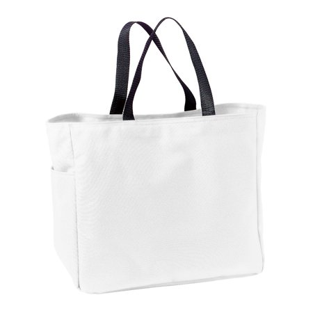 Port & Company Casual Web Handle Self Fabric Pocket Essential Tote - Fabric Totes