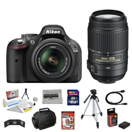 Nikon D5200 24.1 MP CMOS Digital SLR with 18-55mm f/3.5-5.6 AF-S DX VR NIKKOR Zoom Lens + Nikon 55-300mm f/4.5-5.6G ED VR AF-S DX Nikkor Zoom Lens + 10 Piece Accessory (Best Accessories For Nikon D5200)