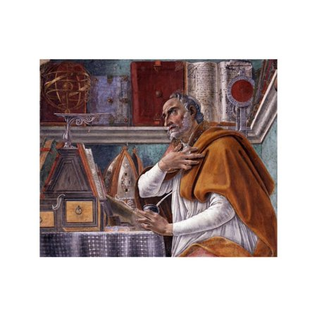 Detail of Saint Augustine in His Study by Sandro Botticelli Print Wall Art (Saint Augustine Outlets)