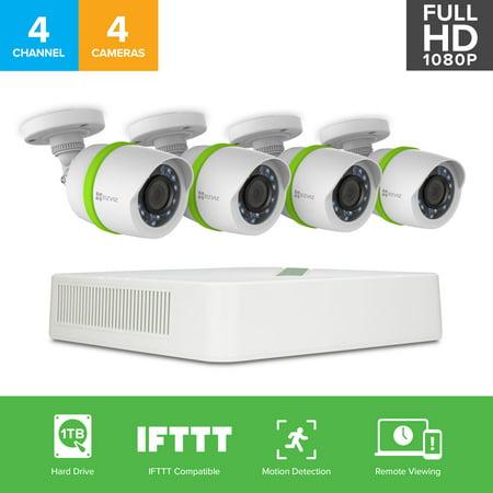 Ezviz Full Hd 1080P Smart Outdoor Analog Surveillance System  4 Weatherproof Hd Security Cameras  4 Channel 1Tb Dvr Storage  100Ft Night Vision  Customizable Motion Detection