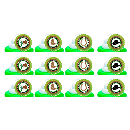 Western CowBoy Easy Toppers Cupcake Decoration Rings -12pk - Cowboy Cupcakes