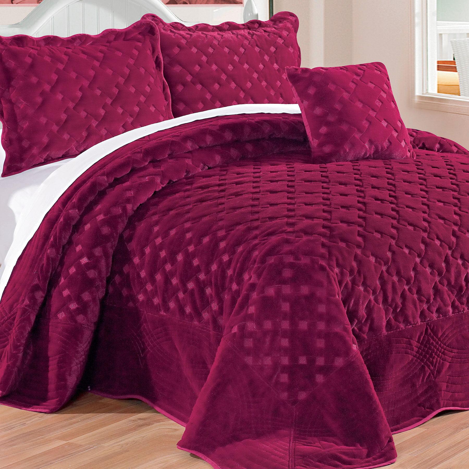Serenta Tatami Quilted Faux Fur 4 Piece Bedspread Set