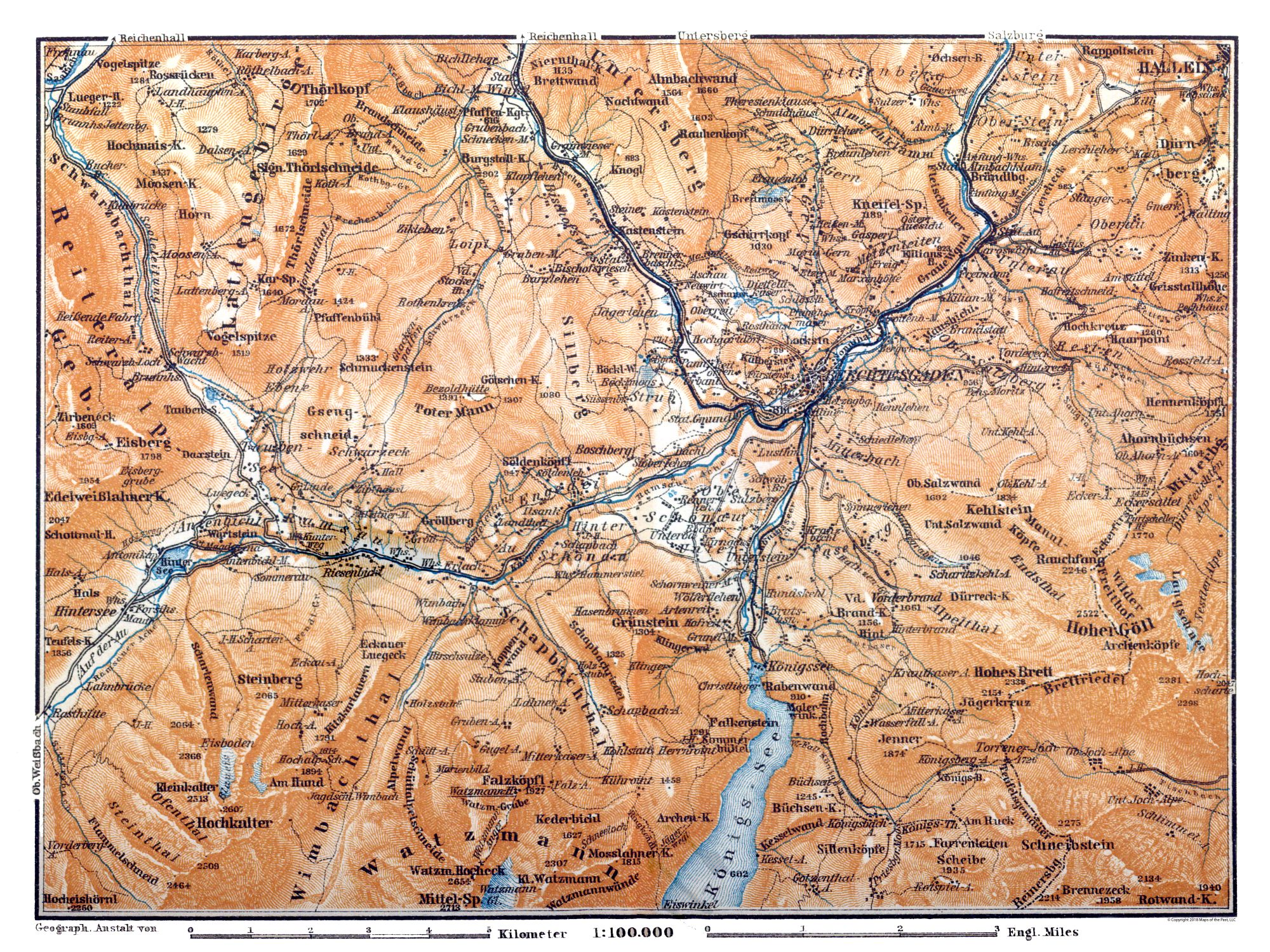 Map Of Germany In 1914.International Map Mountains Germany Austria Baedeker 1914