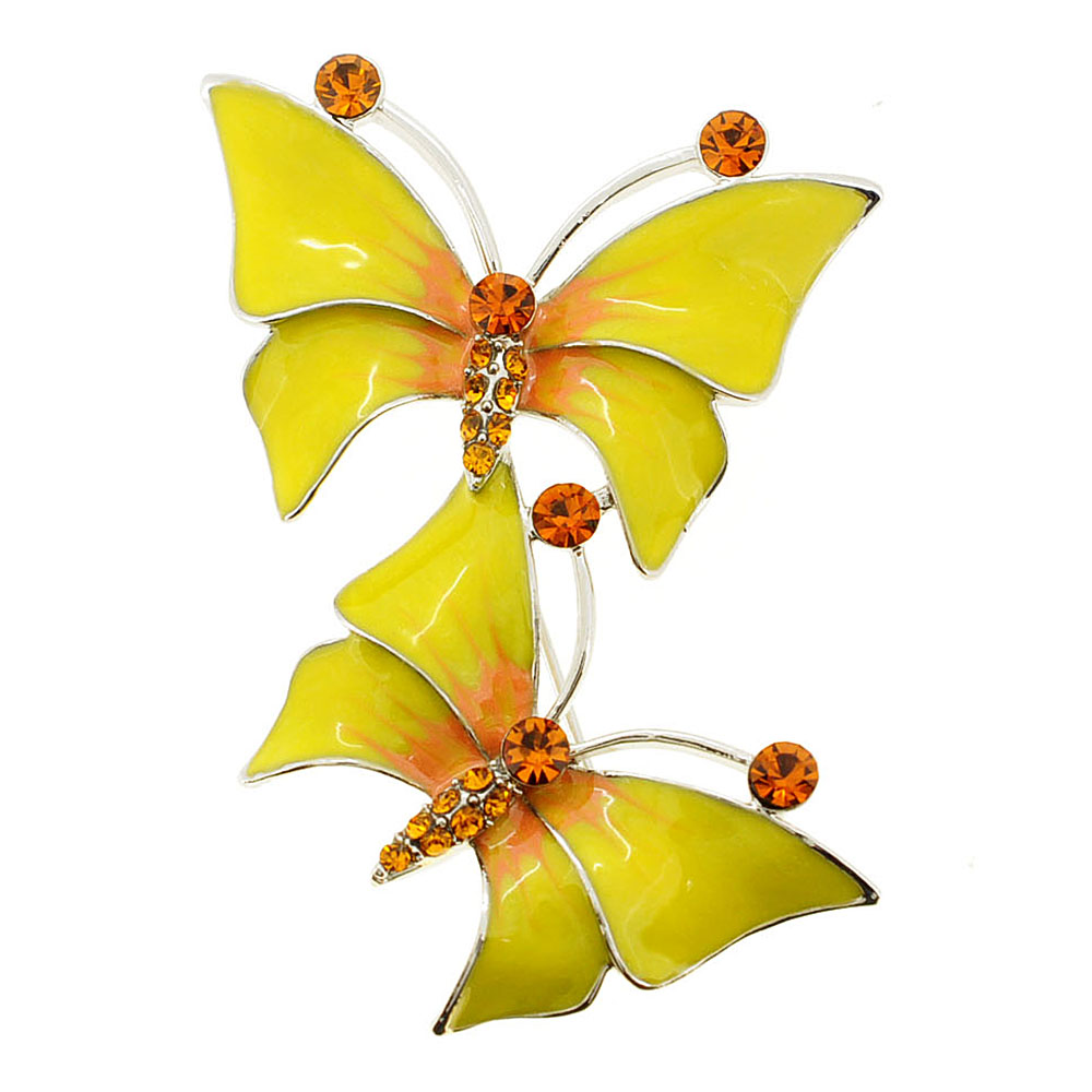 Two Yellow Butterfly Crystal Pin Brooch by