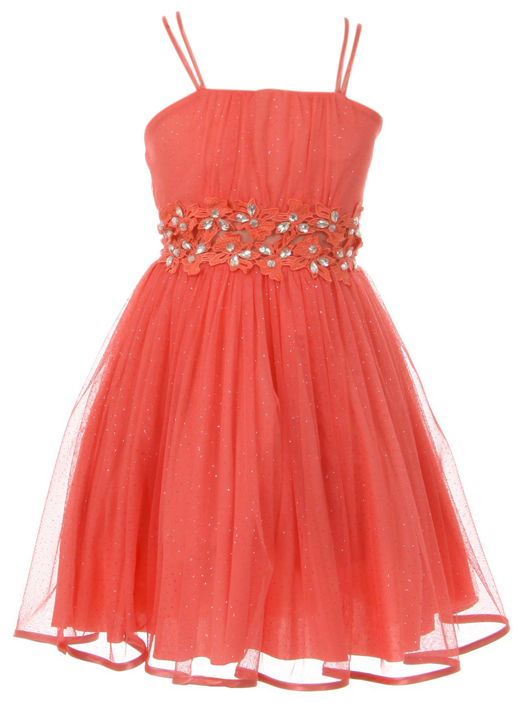 Little Girls Dress Set 2 PCS Jacket Rhinestones Glitter Flower Girl Dress Clothing Set Coral 4 (J21KS44)
