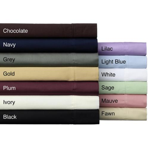 Solid Wrinkle Resistant 300 Thread Count Cotton Sheet Set Full - Navy
