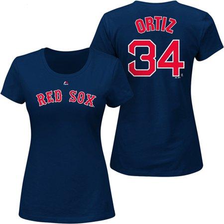 David Ortiz Boston Red Sox Majestic Women's Plus Size Name & Number T-Shirt - Navy David Ortiz Signed Bat