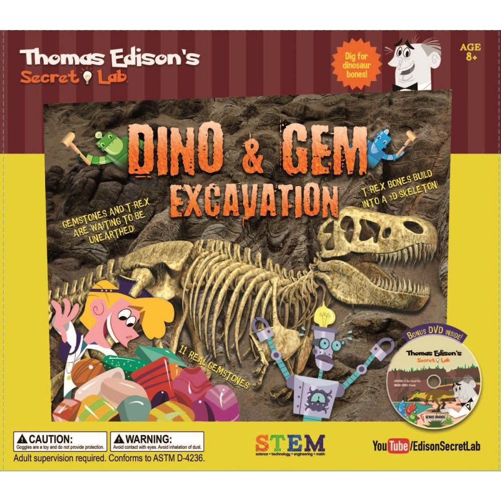 Edisons Lab Dino and Gem Excavation Kit, Educational Toys by Go! Games