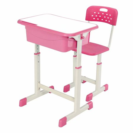 Clearance!Adjustable Student Homework Desk and Chair Kit Pink For children of 3-14 years old Children Gift ()