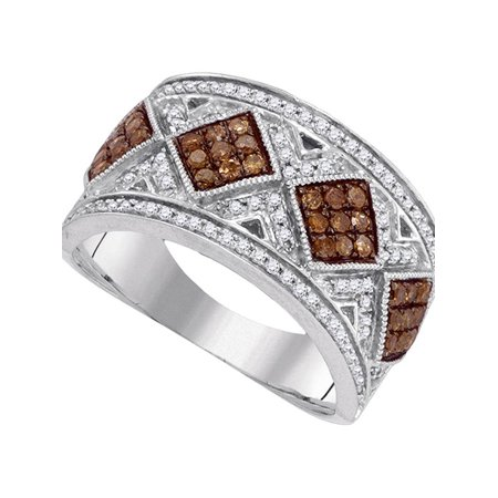 10kt White Gold Womens Round Cognac-brown Color Enhanced Diamond Band Ring 5/8 Cttw - image 1 de 1